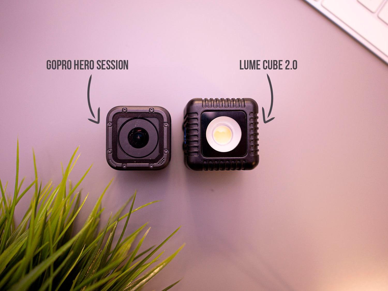 Lume Cube 2.0 al lado de una GoPro Hero Session 5