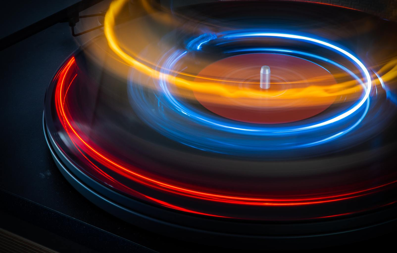 Estelas de luz de disco LP en movimiento