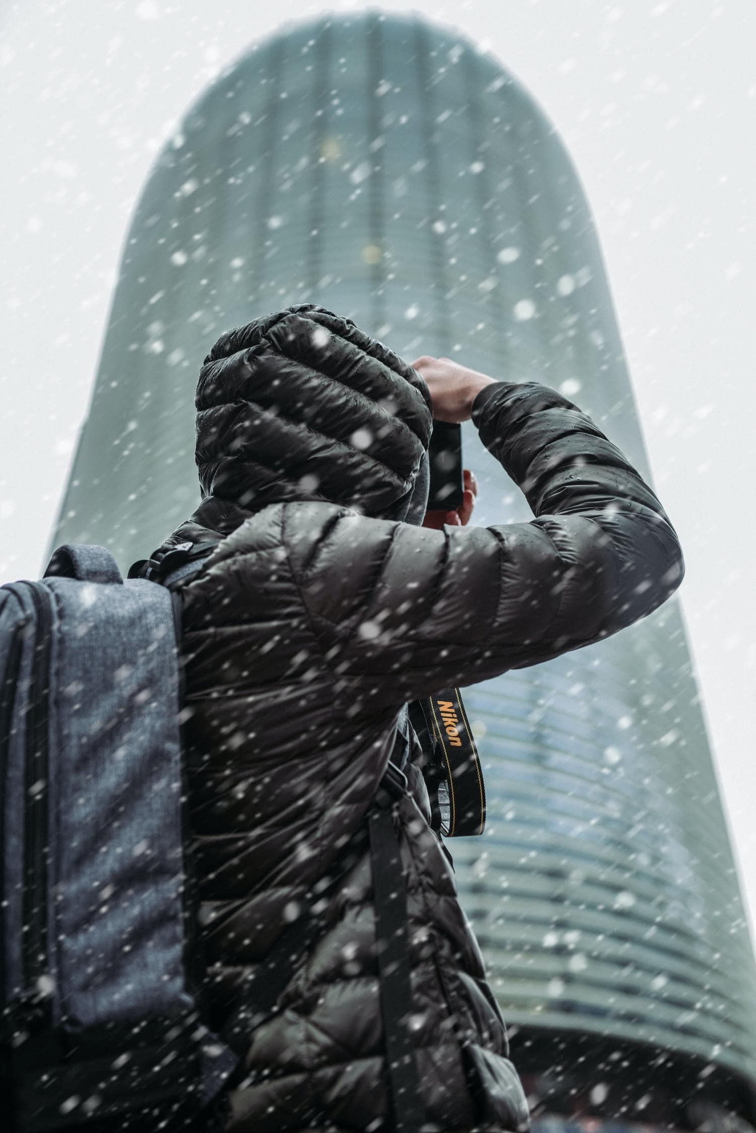 fotógrafo en la nieve