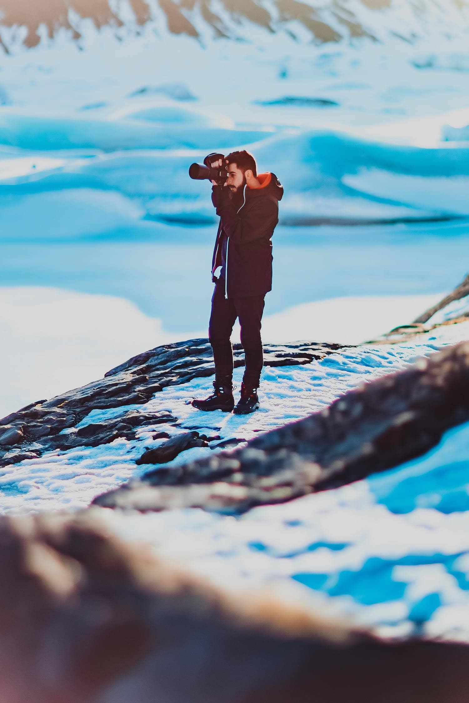 fotógrafo de nieve
