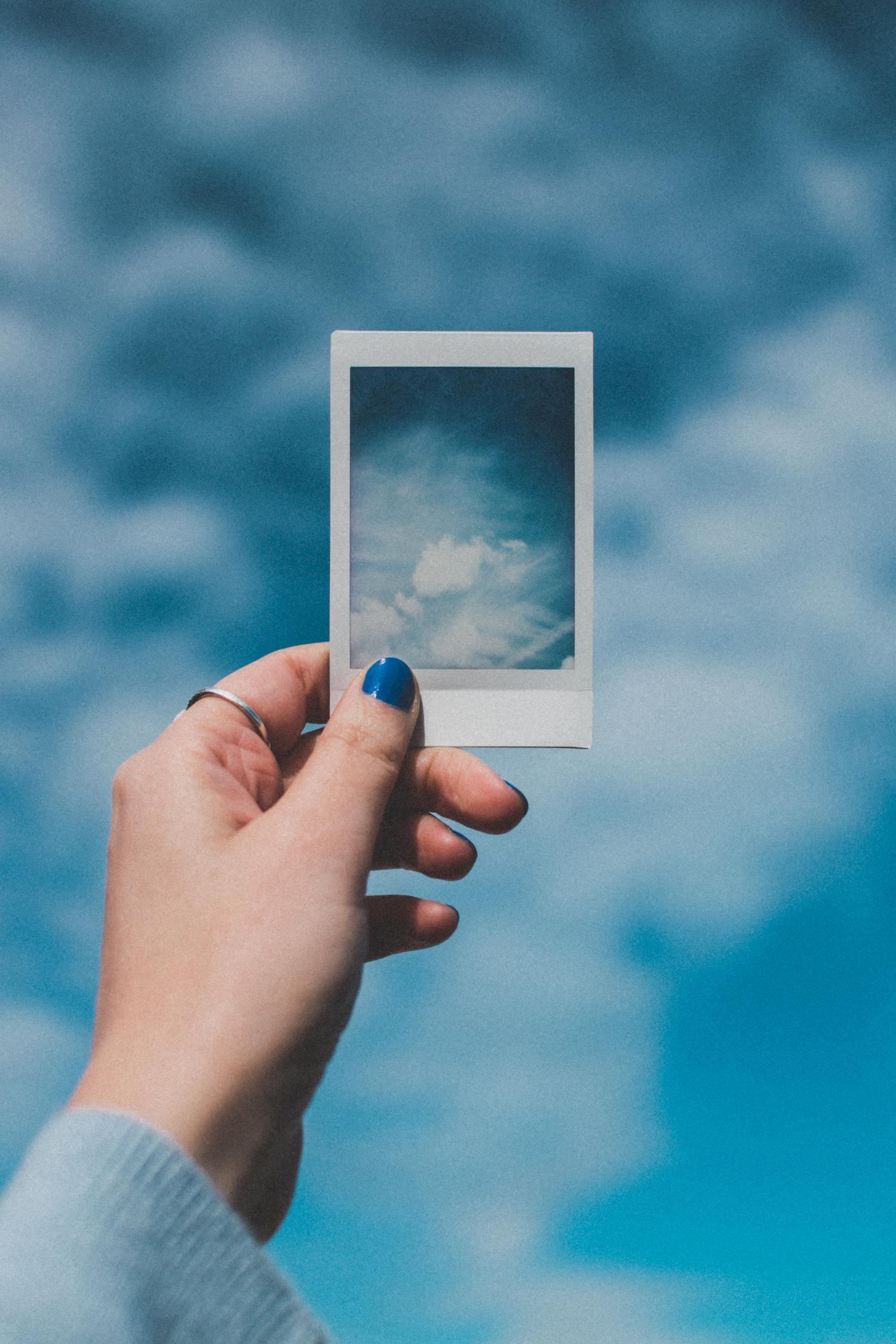fotografía instantánea azul