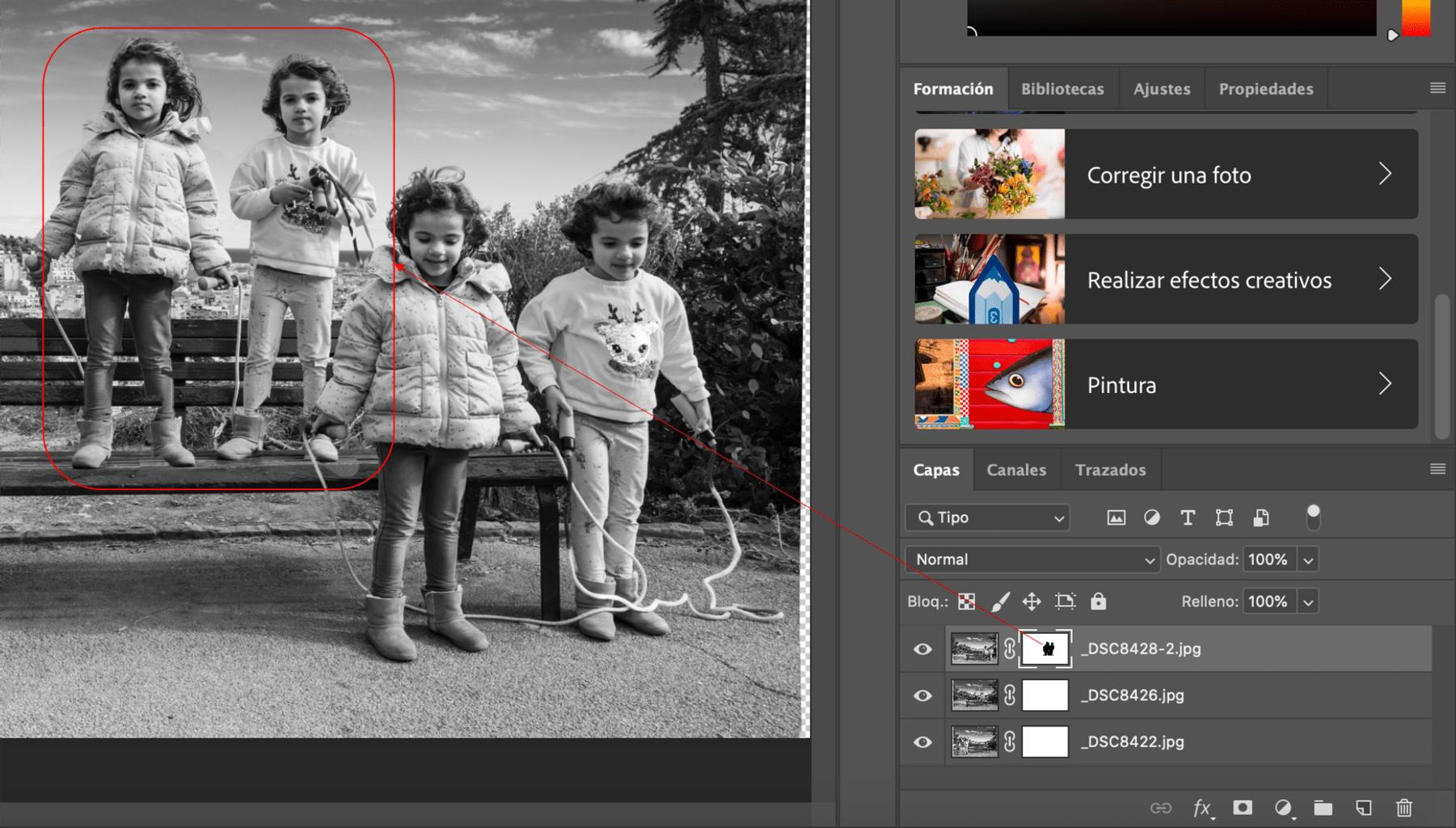 paso de pintar con pincel en multiexposición con Photoshop