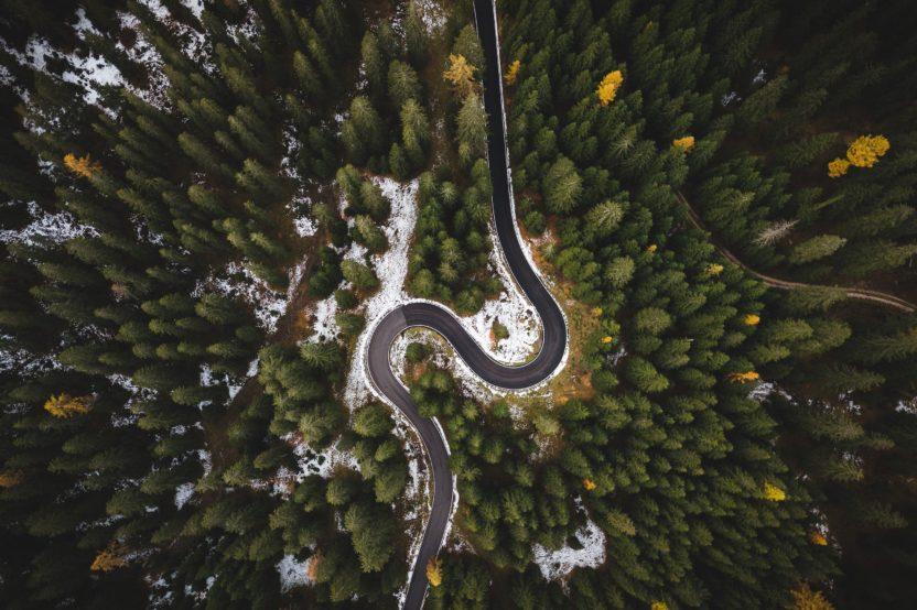 carretera vista con dron