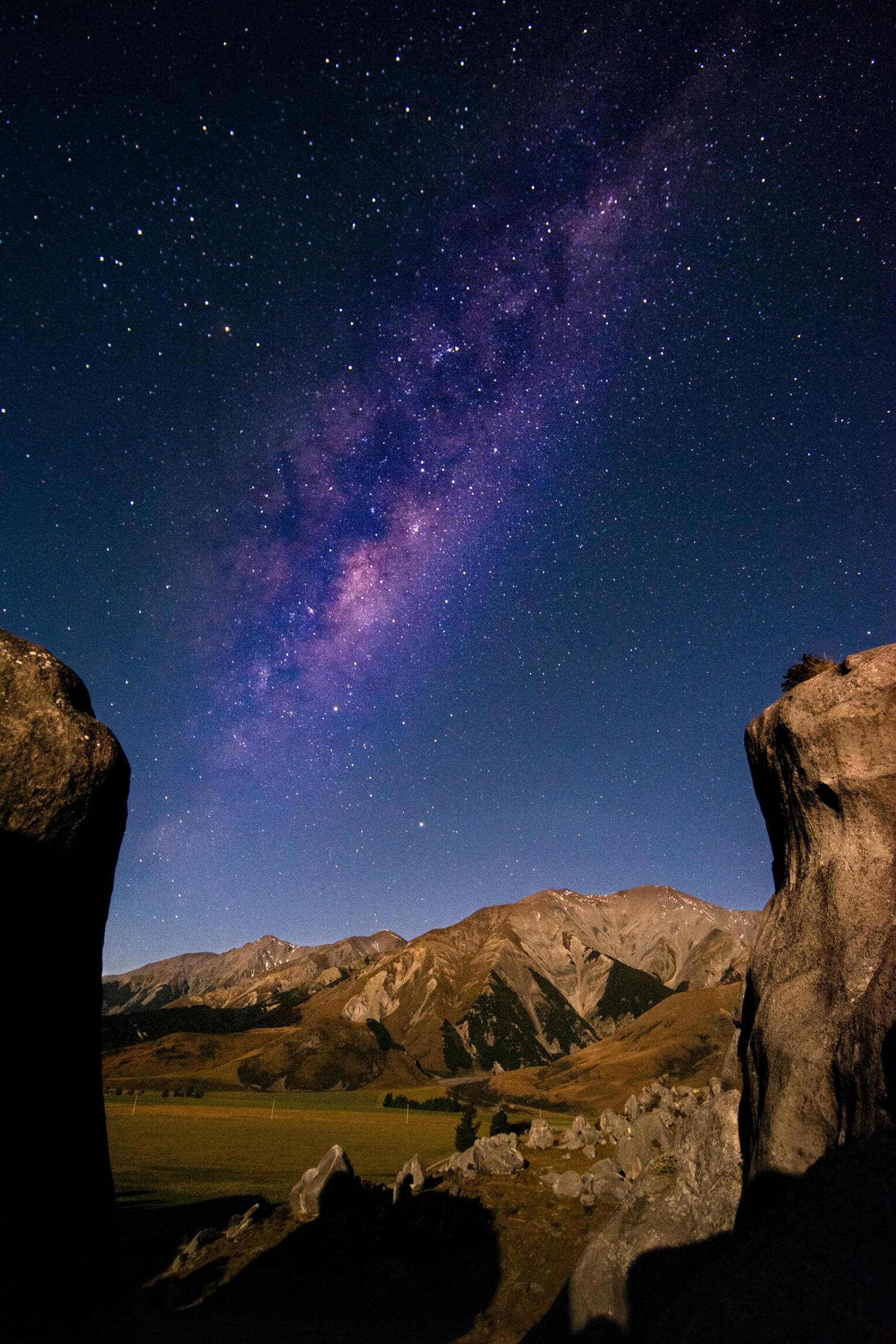 paisaje nocturno con objetivo gran angular