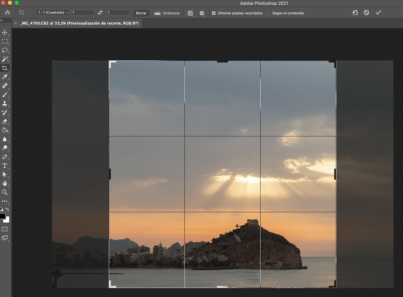 Captura de pantalla de Photoshop para cambiar relación de aspecto.