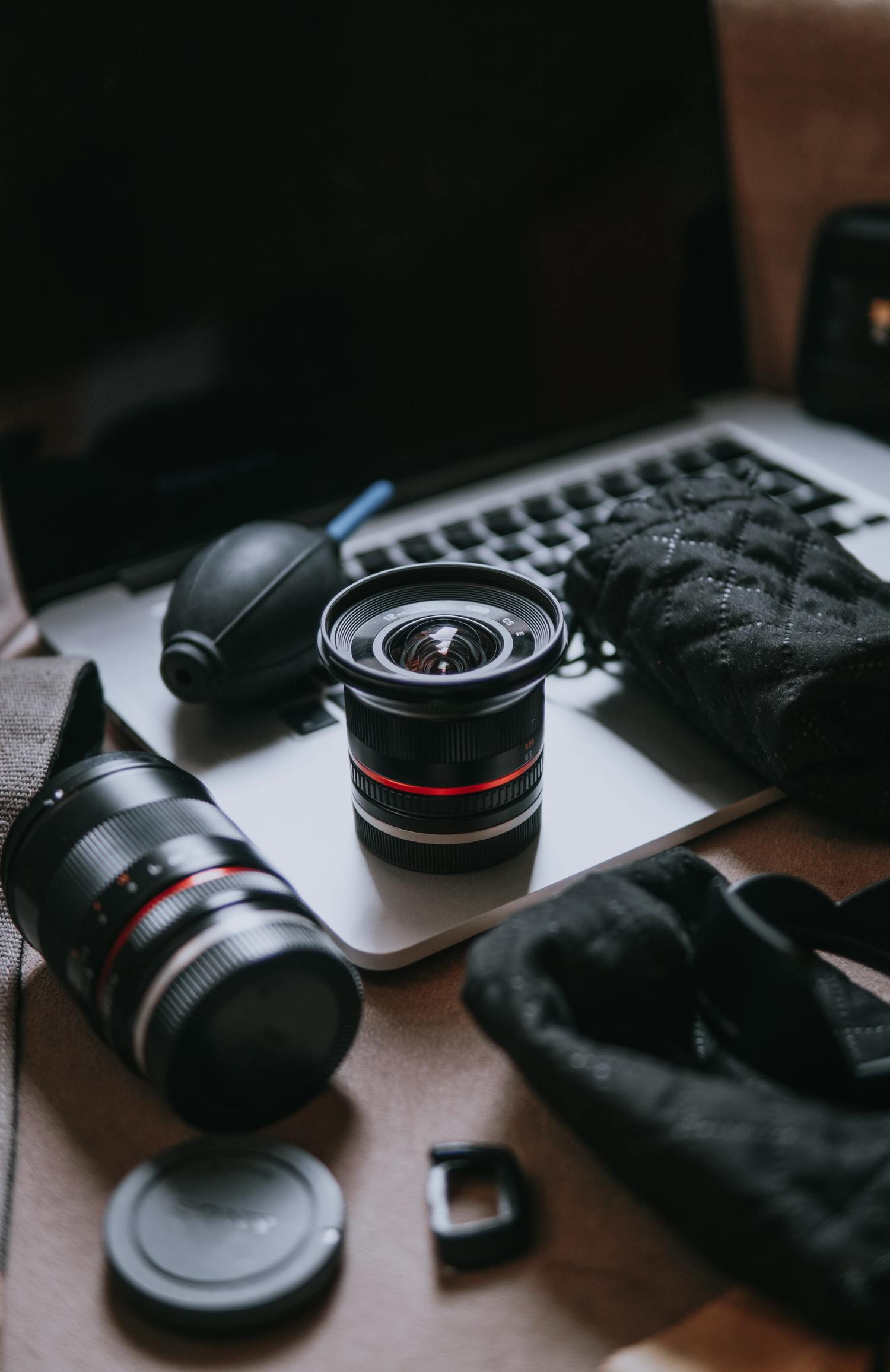 Objetivos de fotografía y accesorios de limpieza