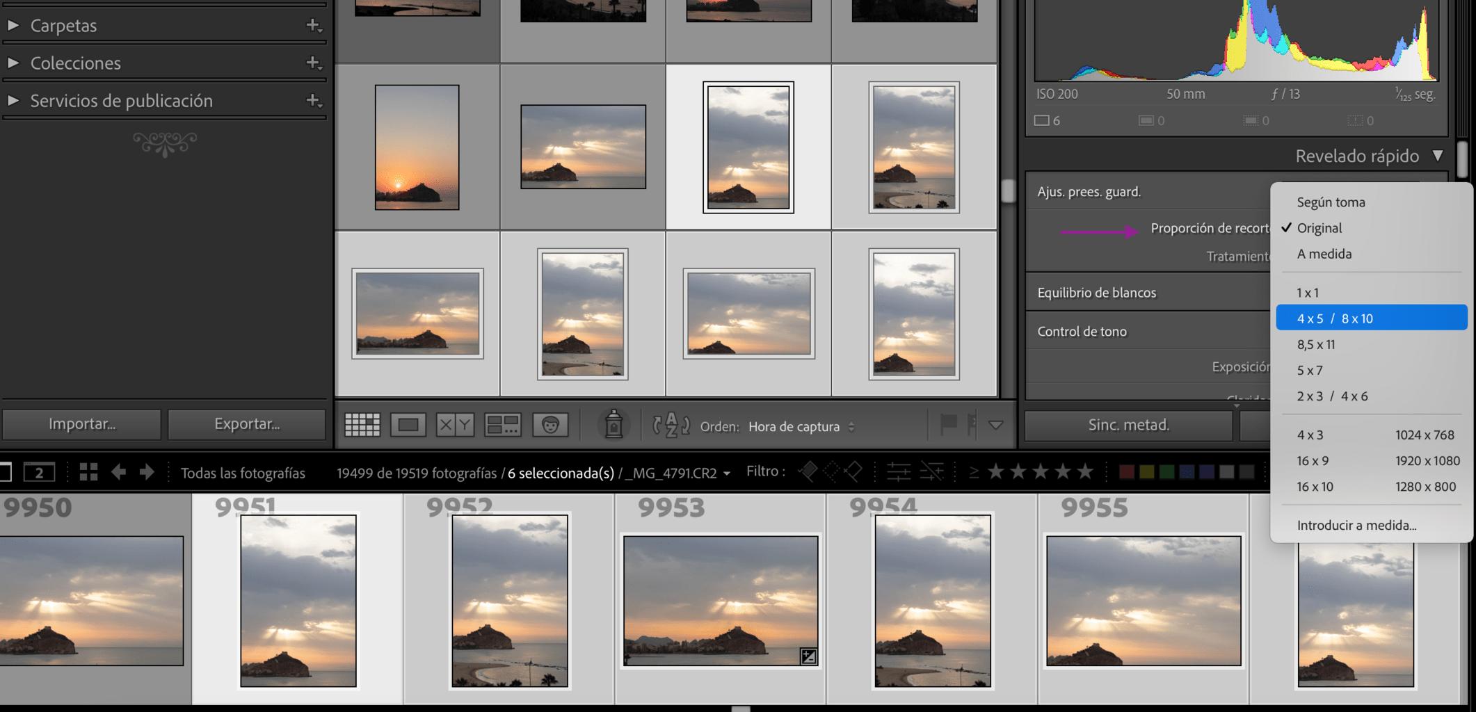 Captura de pantalla de cómo cambiar la relación de aspecto de un grupo de fotos a la vez en Lightroom
