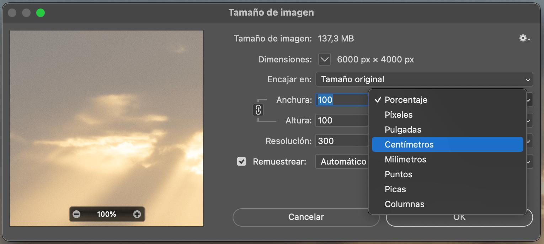 Seleccionar tamaño de imagen en Photoshop
