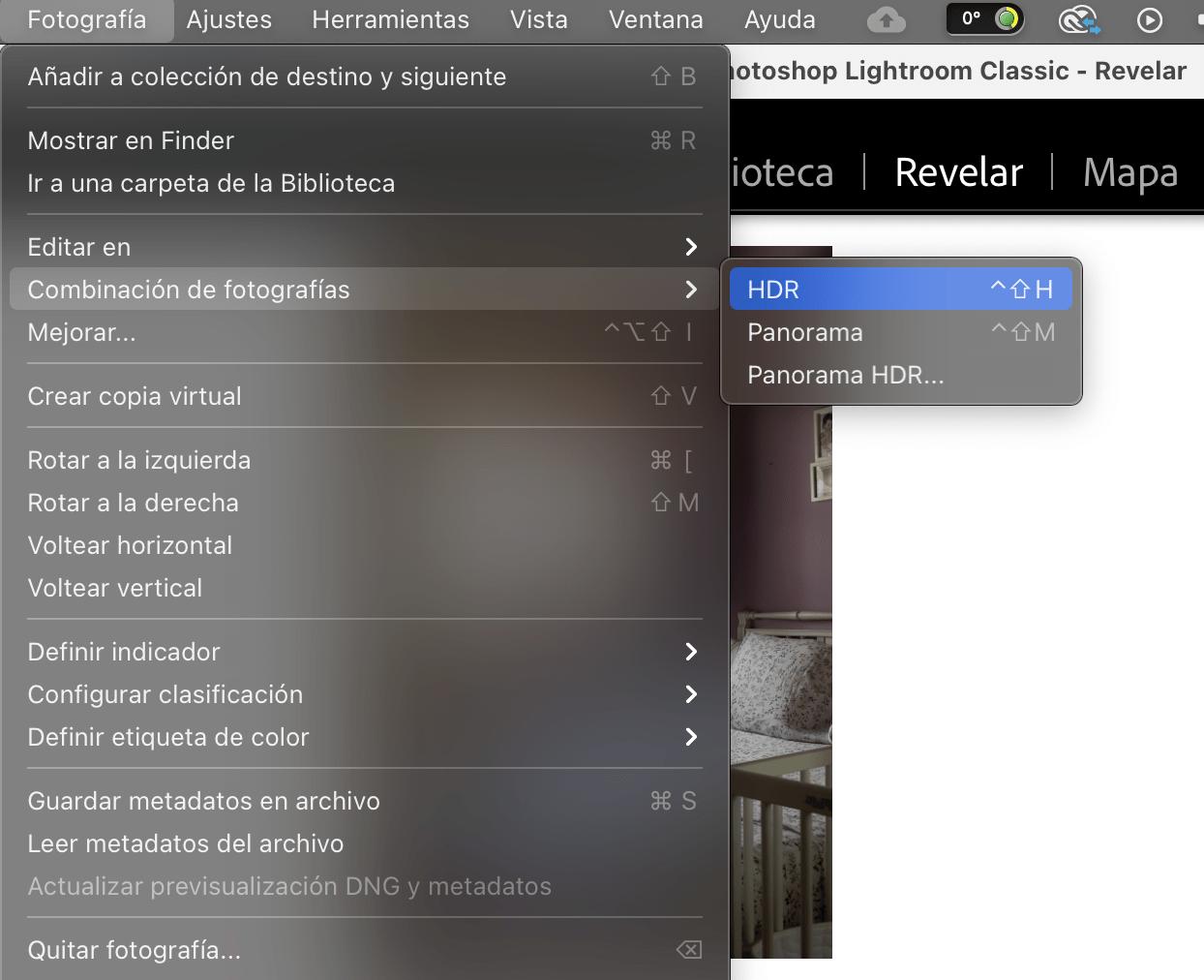 Captura de pantalla de laruta para realizar un bracketing de exposición en Lightroom