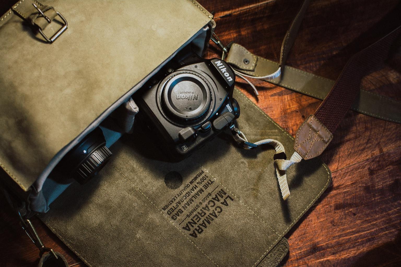 Bolsa con cámara de fotos