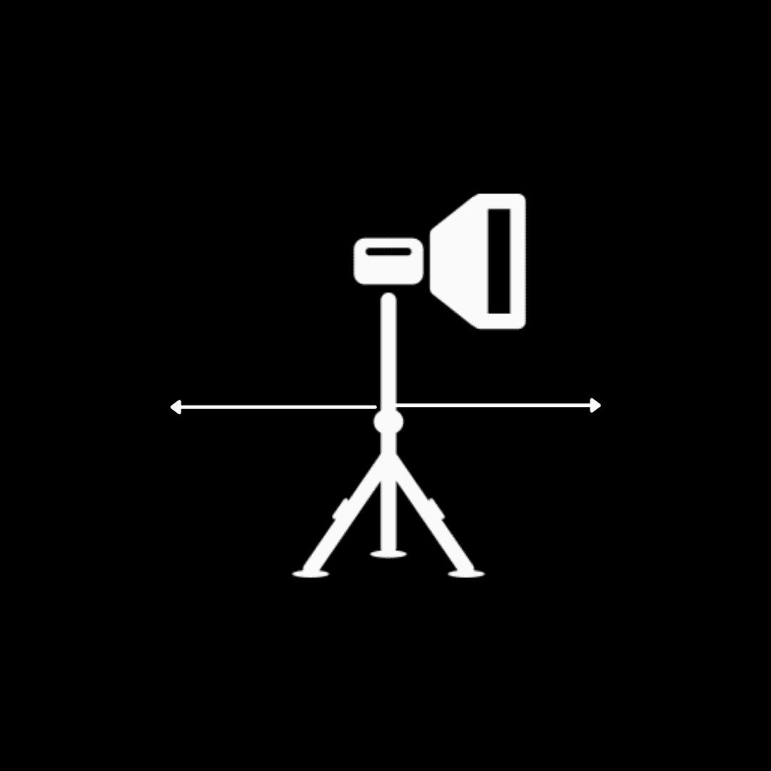 Grafico eje horizontal orientación luz