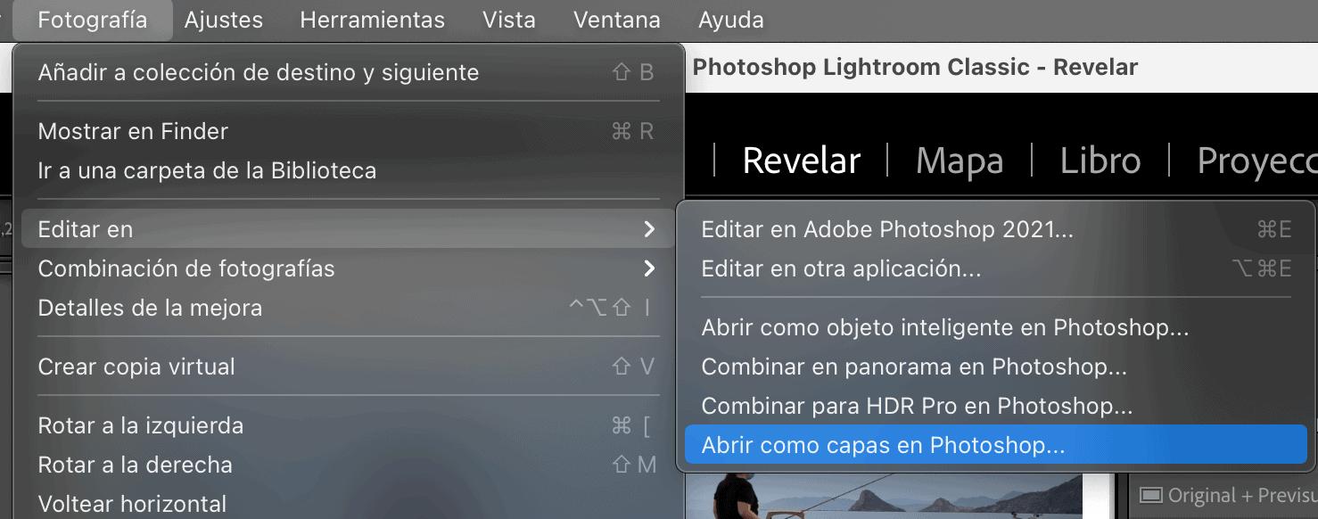 Captura de pantalla de Ligthroom para editar en Photoshop