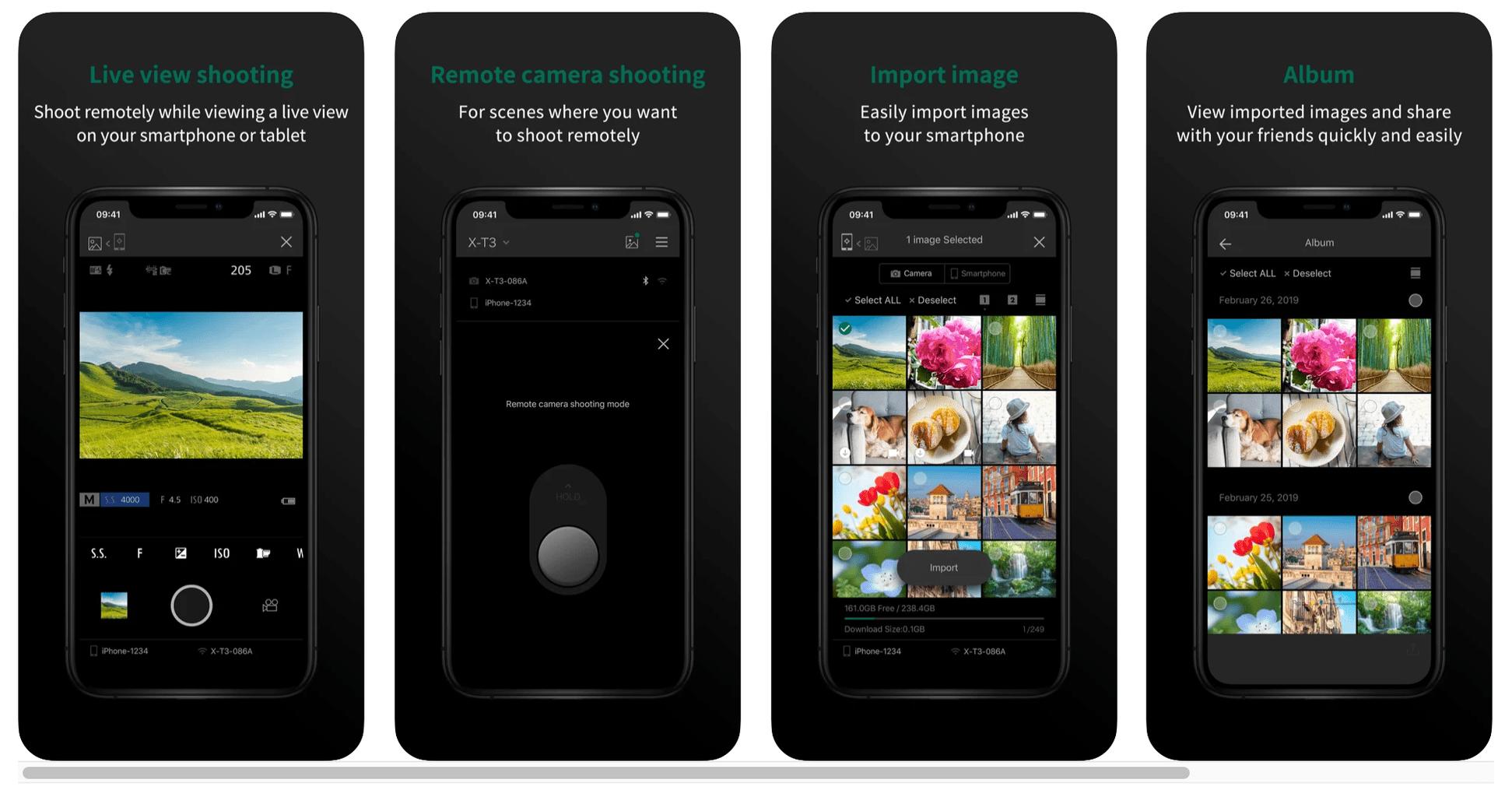 Captura de pantalla de las funciones de la aplicación en remoto de Fujifilm
