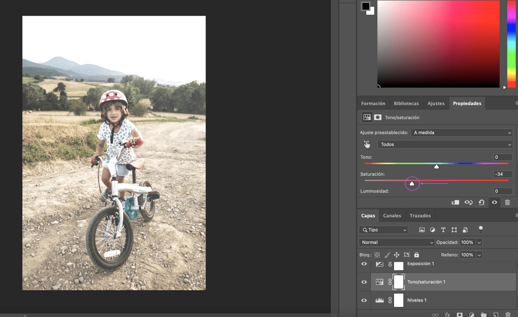 Paso 4 para lograr efecto Gingham en Photoshop