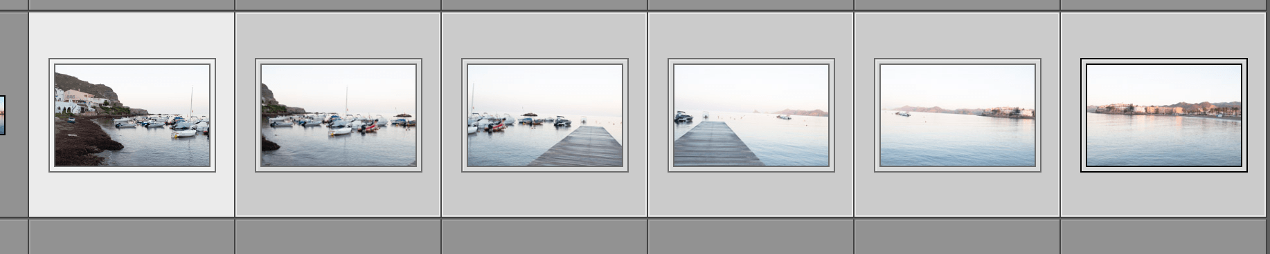 Serie de capturas con encuadre horizontal para montar la panorámica