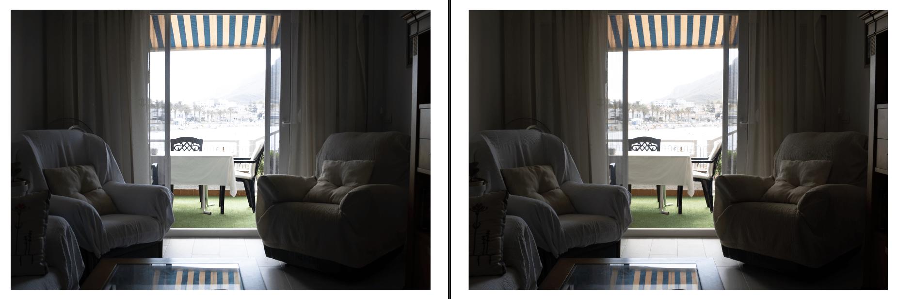 Comparativa de archivo original con exposición correcta y archivo dng tras HDR en Lightroom