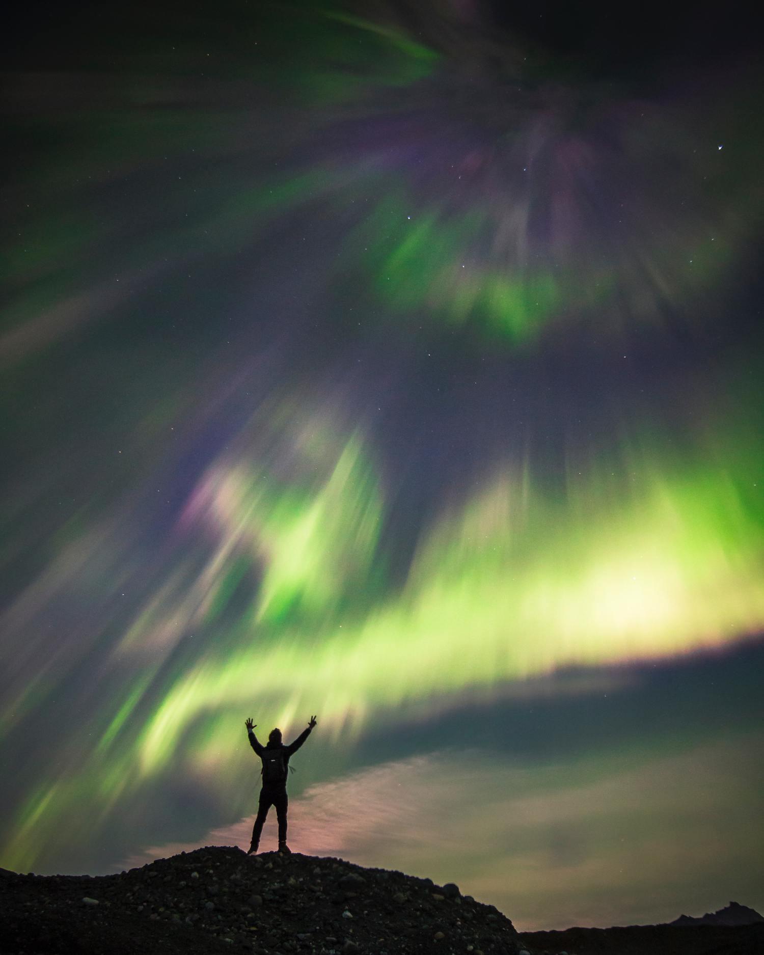 Ejemplo de géneros fotográficos,   fotografía nocturna, aurora boreal