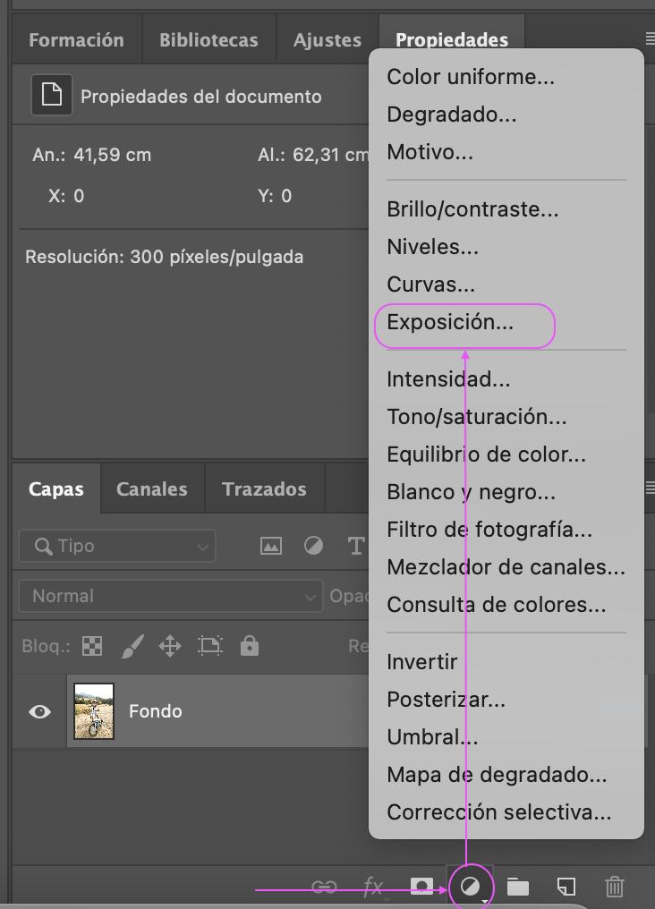propiedades de capa en Photoshop