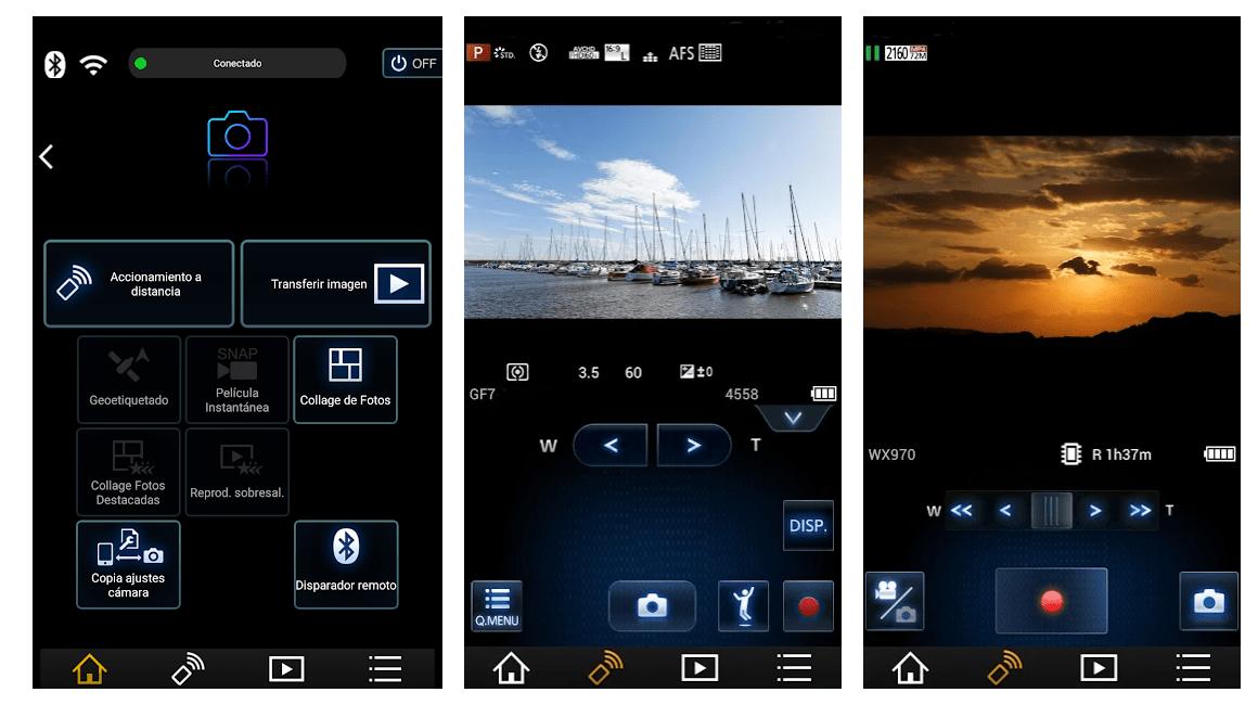 Capturas de pantalla de app de Panasonic para control remoto de la cámara