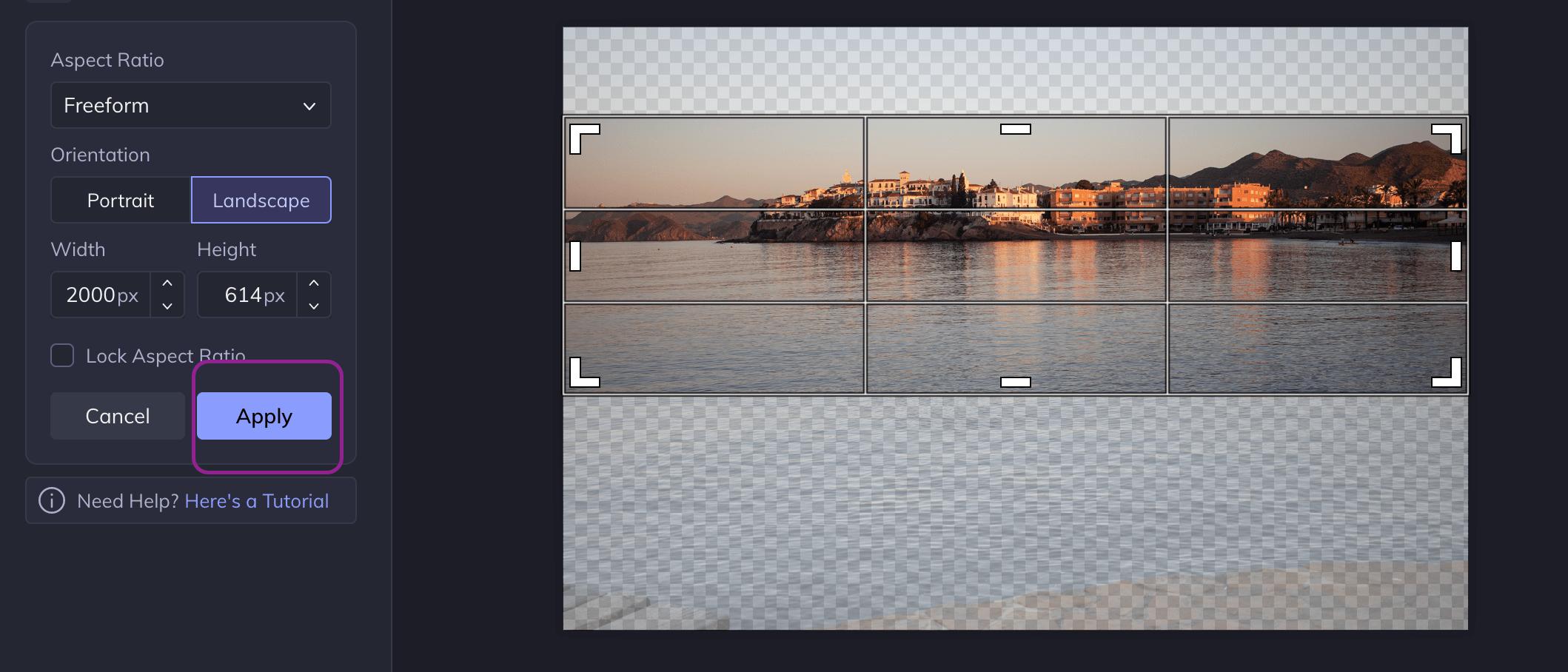 Captura de pantalla recorte panorámica