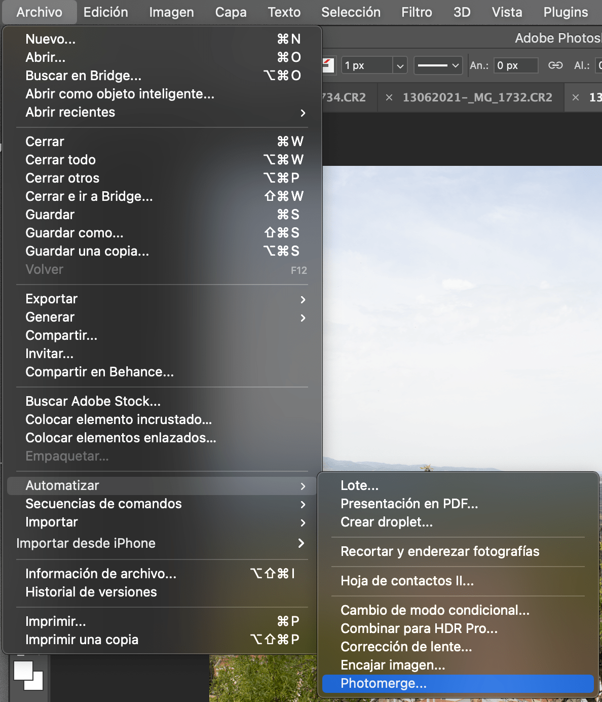 Captura de pantalla de la ruta para montar panorámica en Photoshop