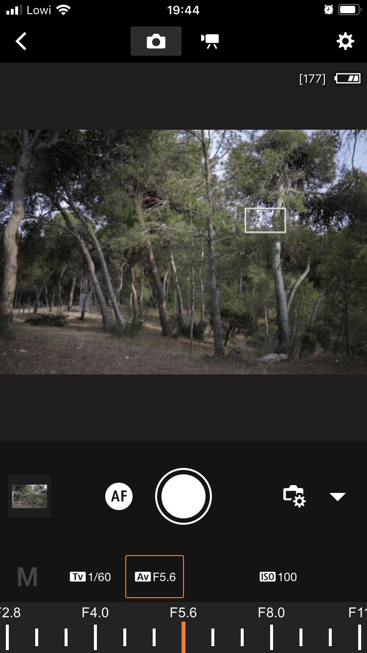 Captura de pantalla aplicación en remoto de Canon