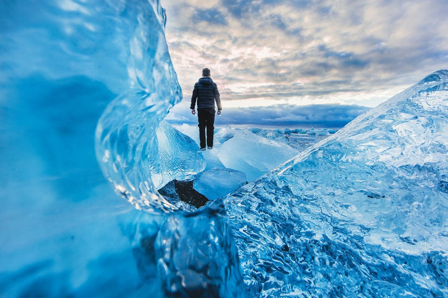 persona hielo naturaleza